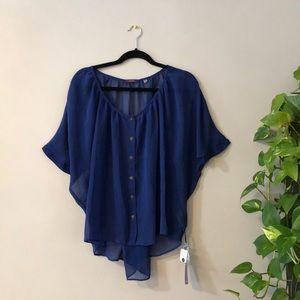 BNWT Dex Sheer Cobalt Blue Blouse